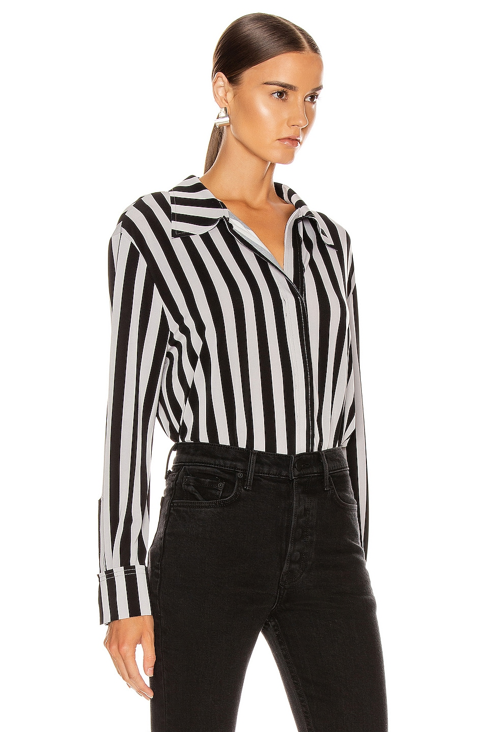 Image 2 of Norma Kamali Boyfriend NK Top in Grey & Black Stripe