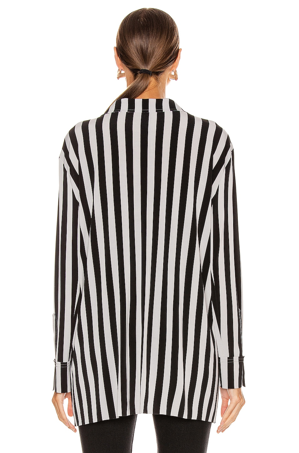 Image 3 of Norma Kamali Boyfriend NK Top in Grey & Black Stripe