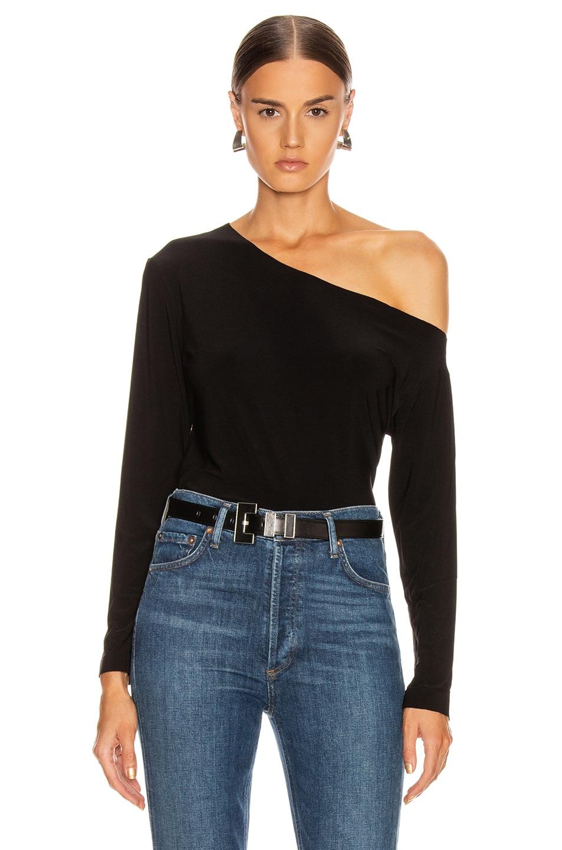 Image 1 of Norma Kamali Long Sleeve Drop Shoulder Top in Black