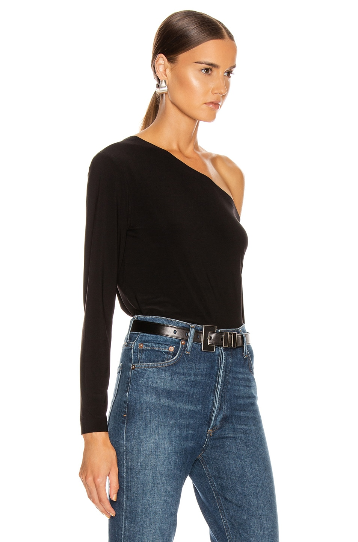 Image 2 of Norma Kamali Long Sleeve Drop Shoulder Top in Black