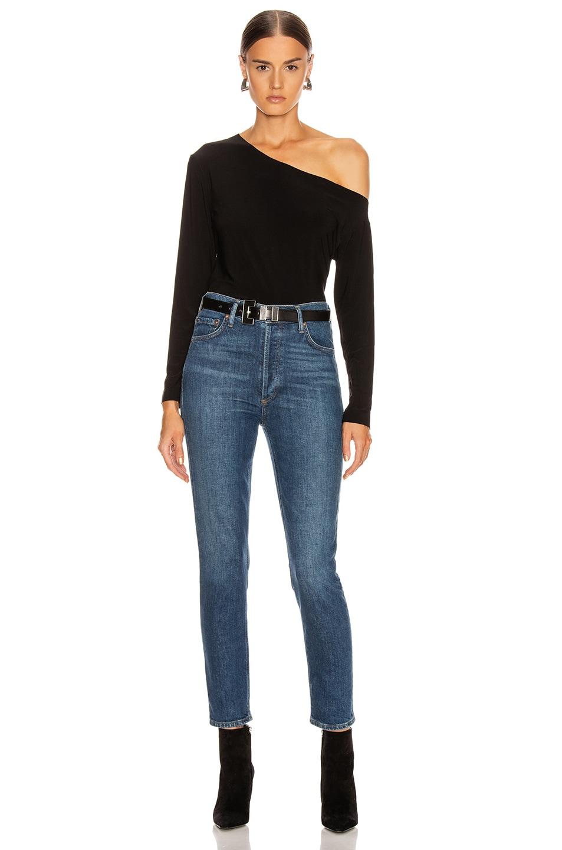 Image 4 of Norma Kamali Long Sleeve Drop Shoulder Top in Black
