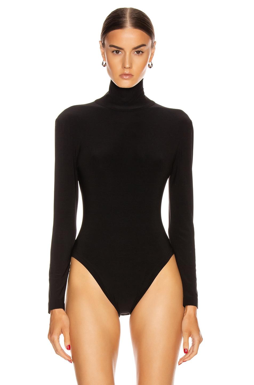 Image 2 of Norma Kamali Long Sleeve Turtleneck Bodysuit in Black