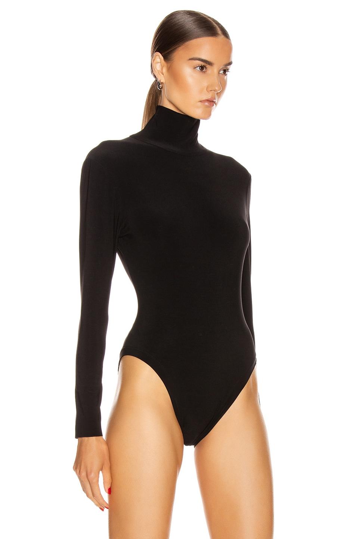 Image 3 of Norma Kamali Long Sleeve Turtleneck Bodysuit in Black