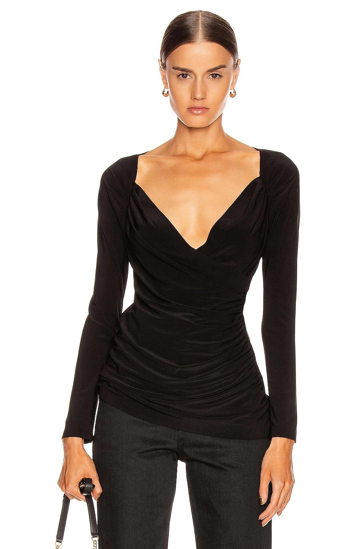 Image 1 of Norma Kamali Long Sleeve Sweetheart Side Drape Top in Black