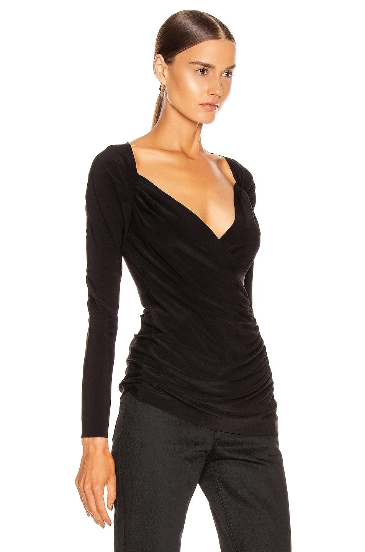 Image 2 of Norma Kamali Long Sleeve Sweetheart Side Drape Top in Black
