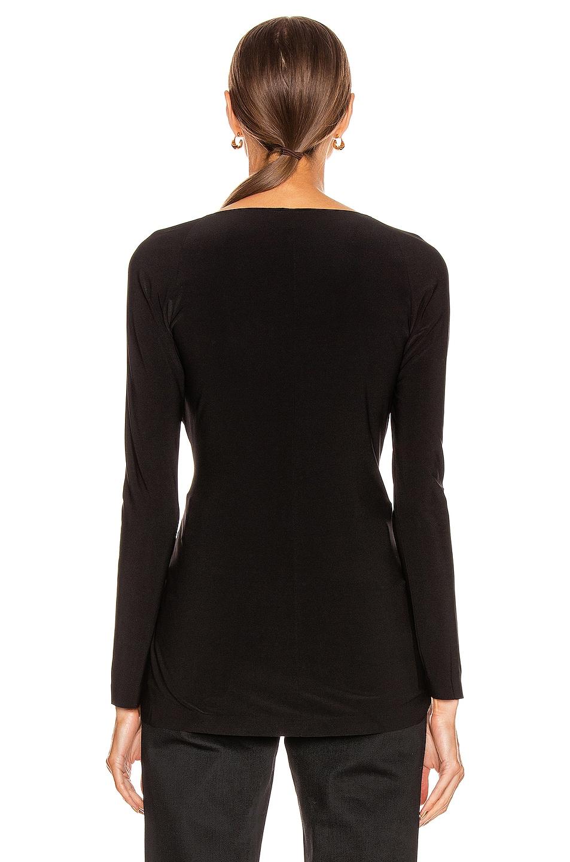 Image 3 of Norma Kamali Long Sleeve Sweetheart Side Drape Top in Black
