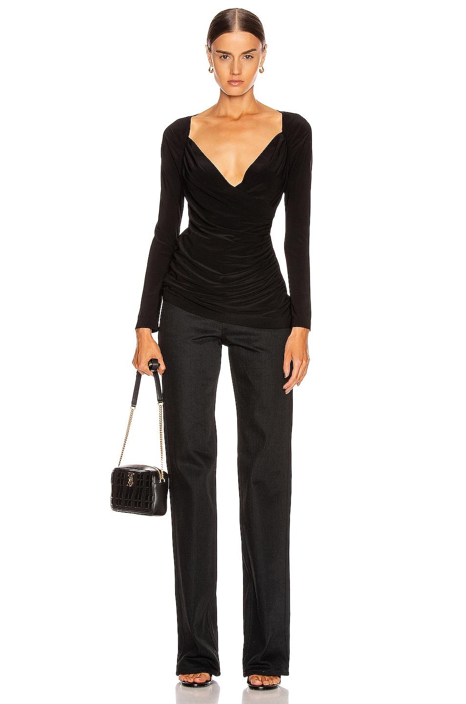 Image 4 of Norma Kamali Long Sleeve Sweetheart Side Drape Top in Black