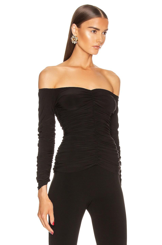 Image 2 of Norma Kamali Off Shoulder Slinky Top in Black