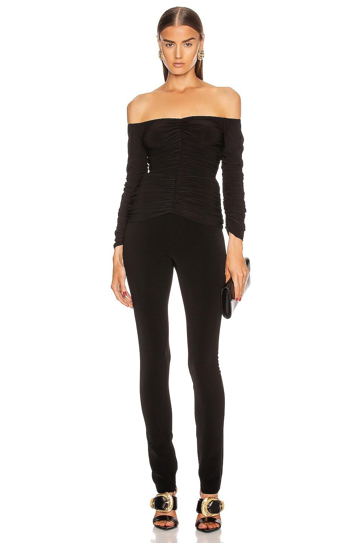 Image 4 of Norma Kamali Off Shoulder Slinky Top in Black