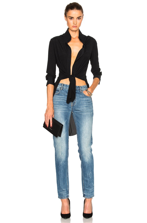 Image 1 of Norma Kamali Tie Front Top in Black