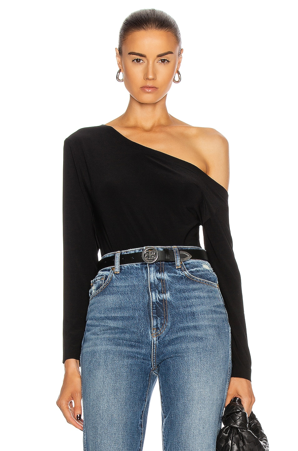 Image 1 of Norma Kamali Long Sleeve Drop Shoulder Bodysuit in Black