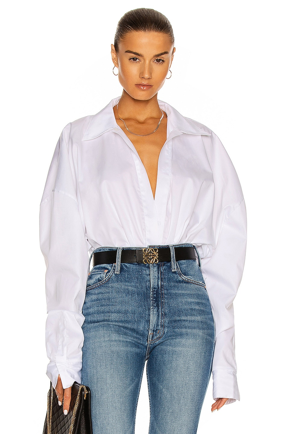 Image 1 of Norma Kamali Oversized Boyfriend Shirt Bodysuit in White