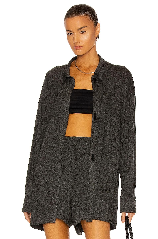 Image 1 of Norma Kamali Oversized Boyfriend NK Shirt in Dark Grey