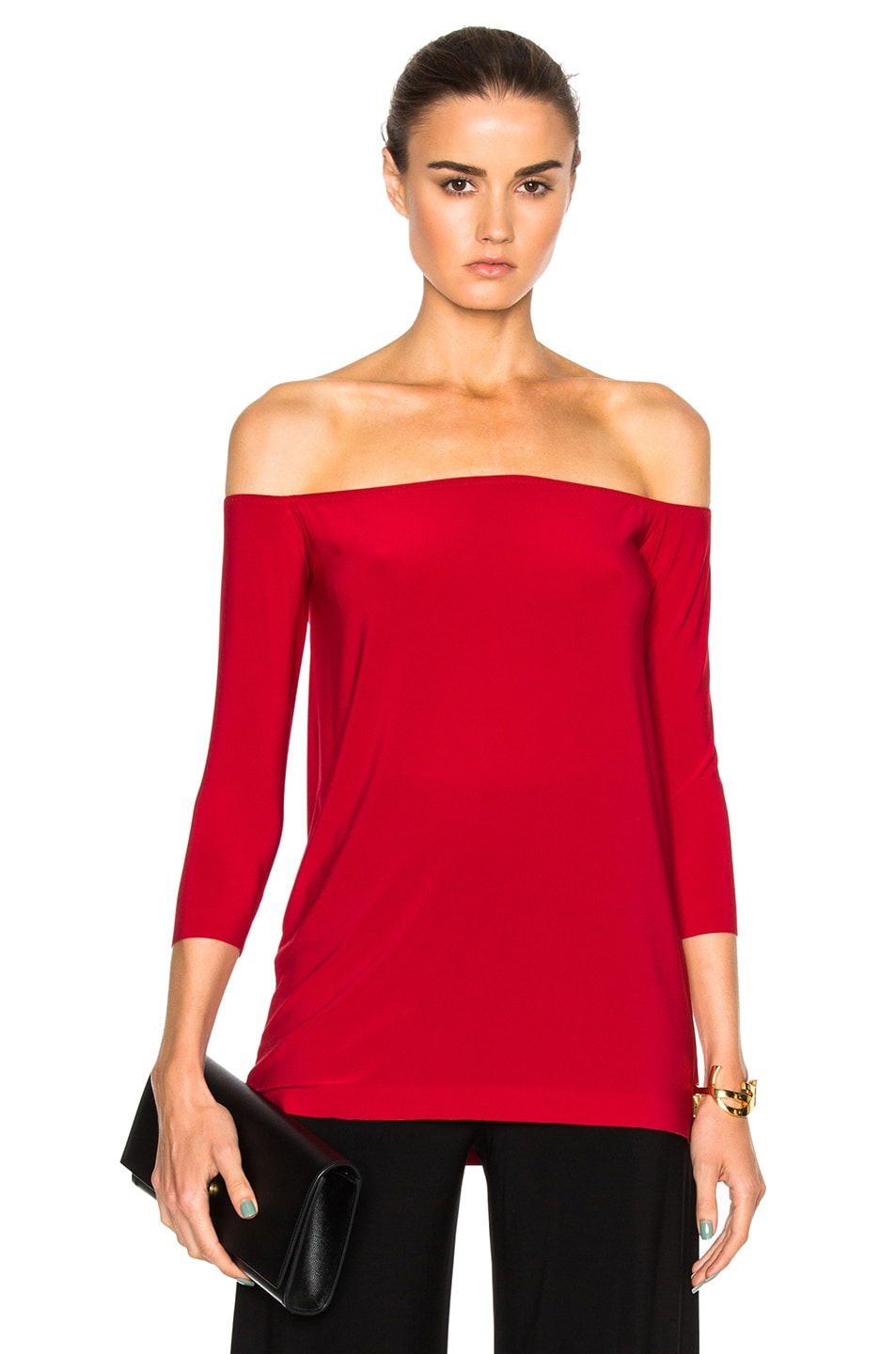 acf3ba05f38 Image 1 of Norma Kamali Off The Shoulder Top in Red