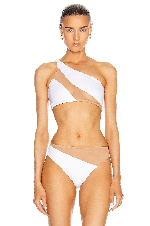 Image 1 of Norma Kamali Snake Mesh Bra Swimsuit in White & Nude Mesh