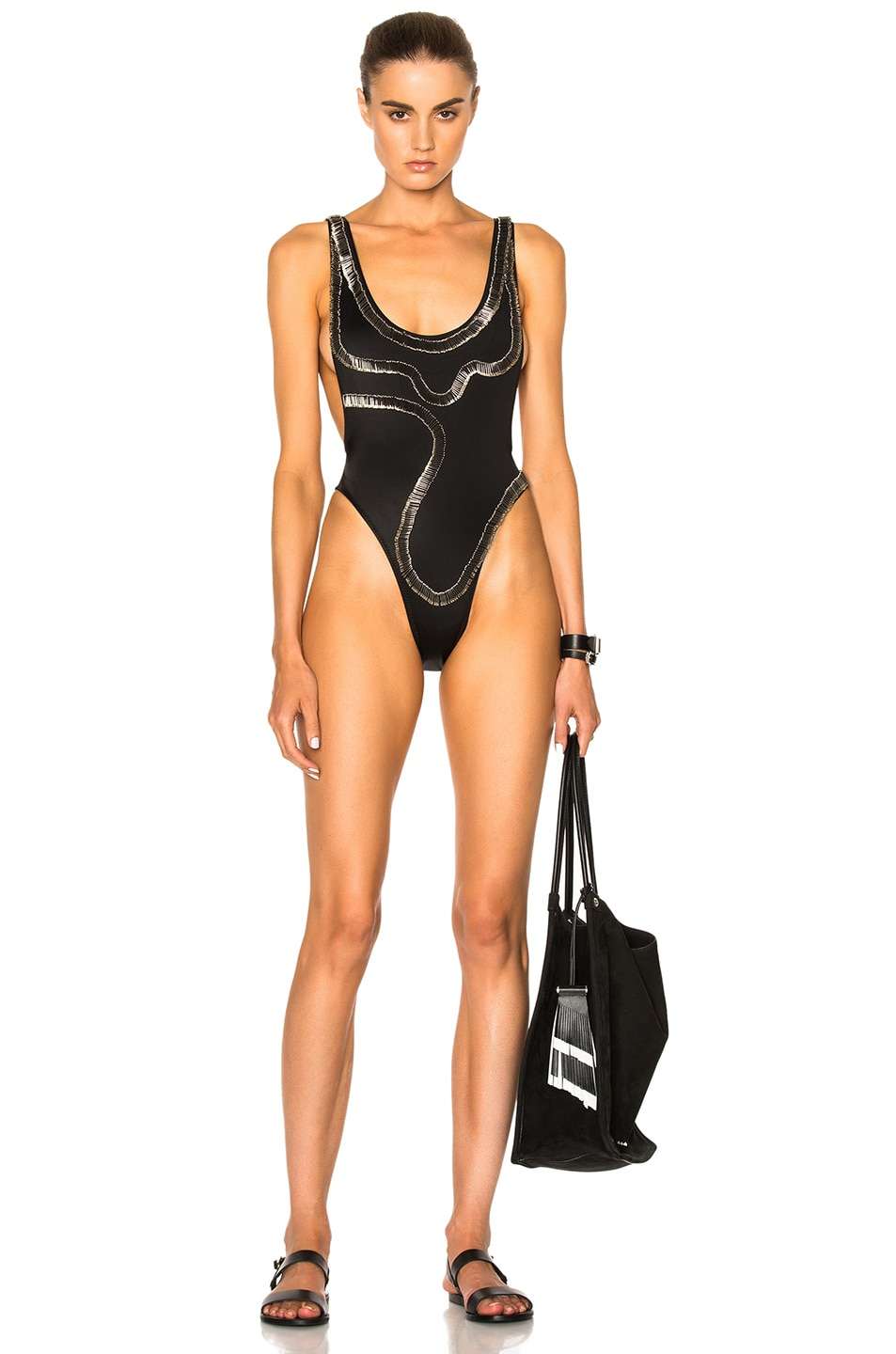 Image 1 of Norma Kamali for FWRD Safety Pins Marissa Swimsuit in Black