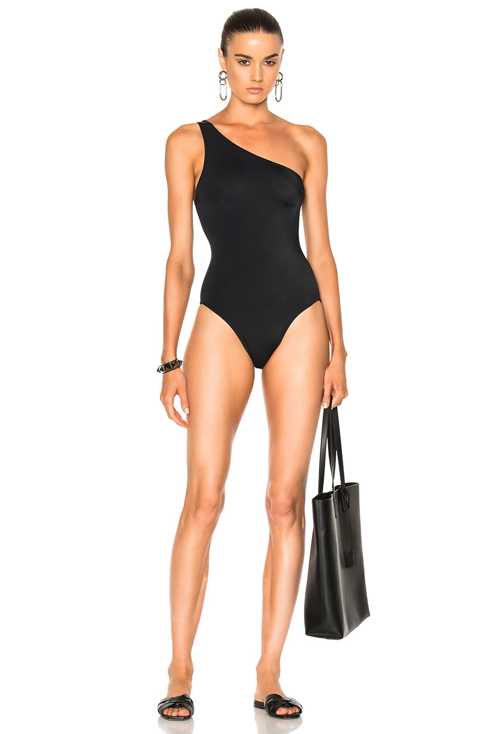 Image 1 of Norma Kamali One Shoulder Mio Swimsuit in Black