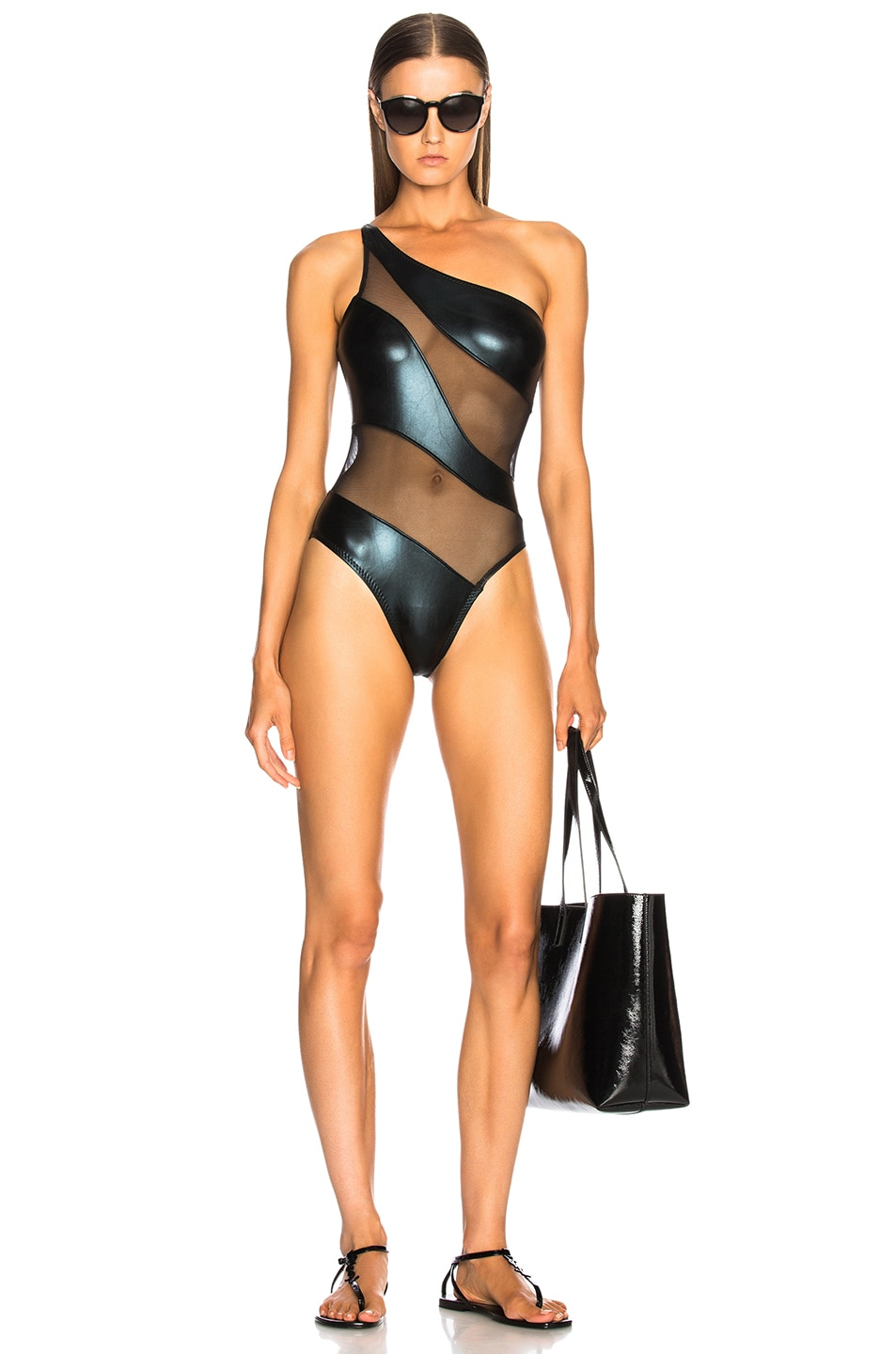 Image 1 of Norma Kamali Snake Mesh Mio Swimsuit in Black Foil