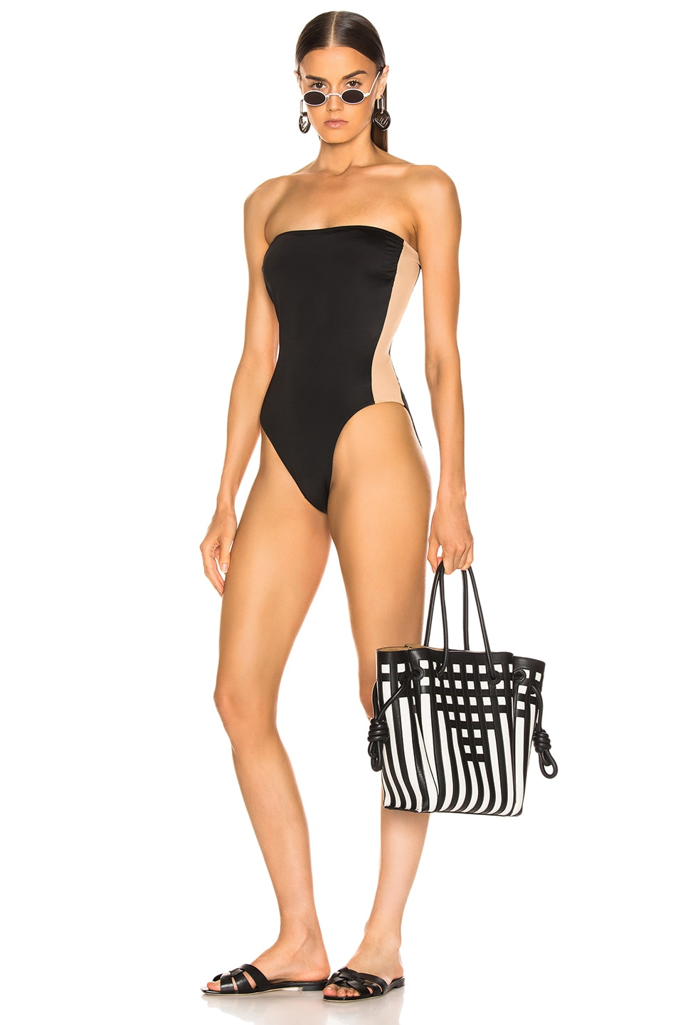 Image 1 of Norma Kamali Side Stripe Bishop Swimsuit in Black