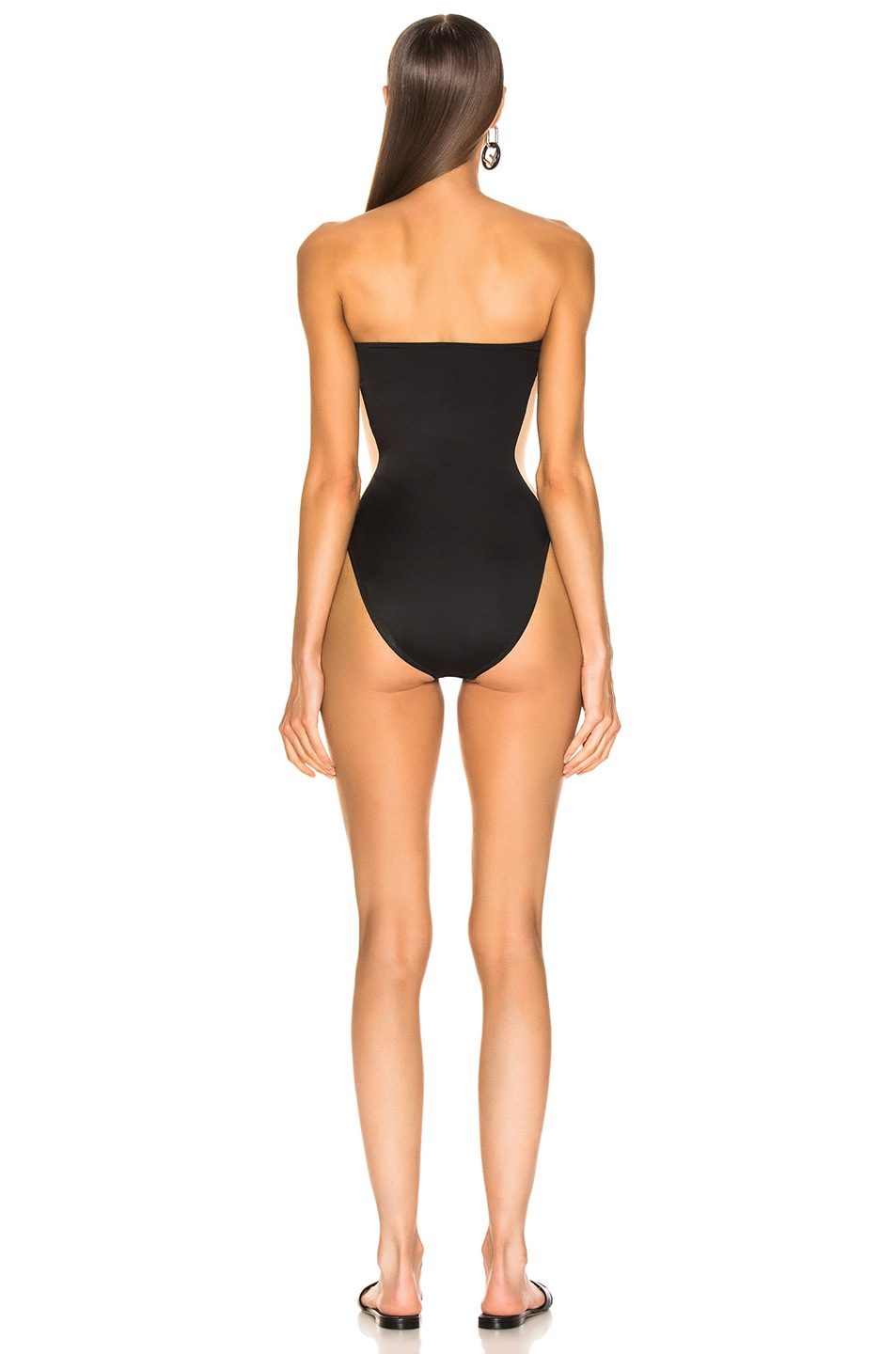 Image 3 of Norma Kamali Side Stripe Bishop Swimsuit in Black