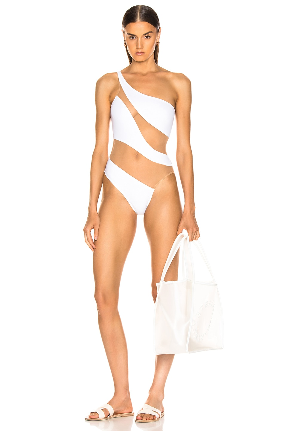 Image 1 of Norma Kamali Snake Mesh Mio Swimsuit in White