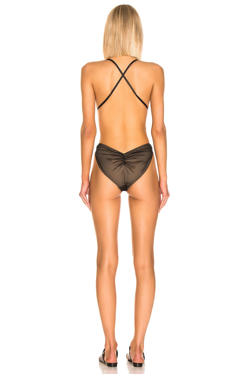 Image 3 of Norma Kamali Butterfly Mio Swimsuit in Black Mesh