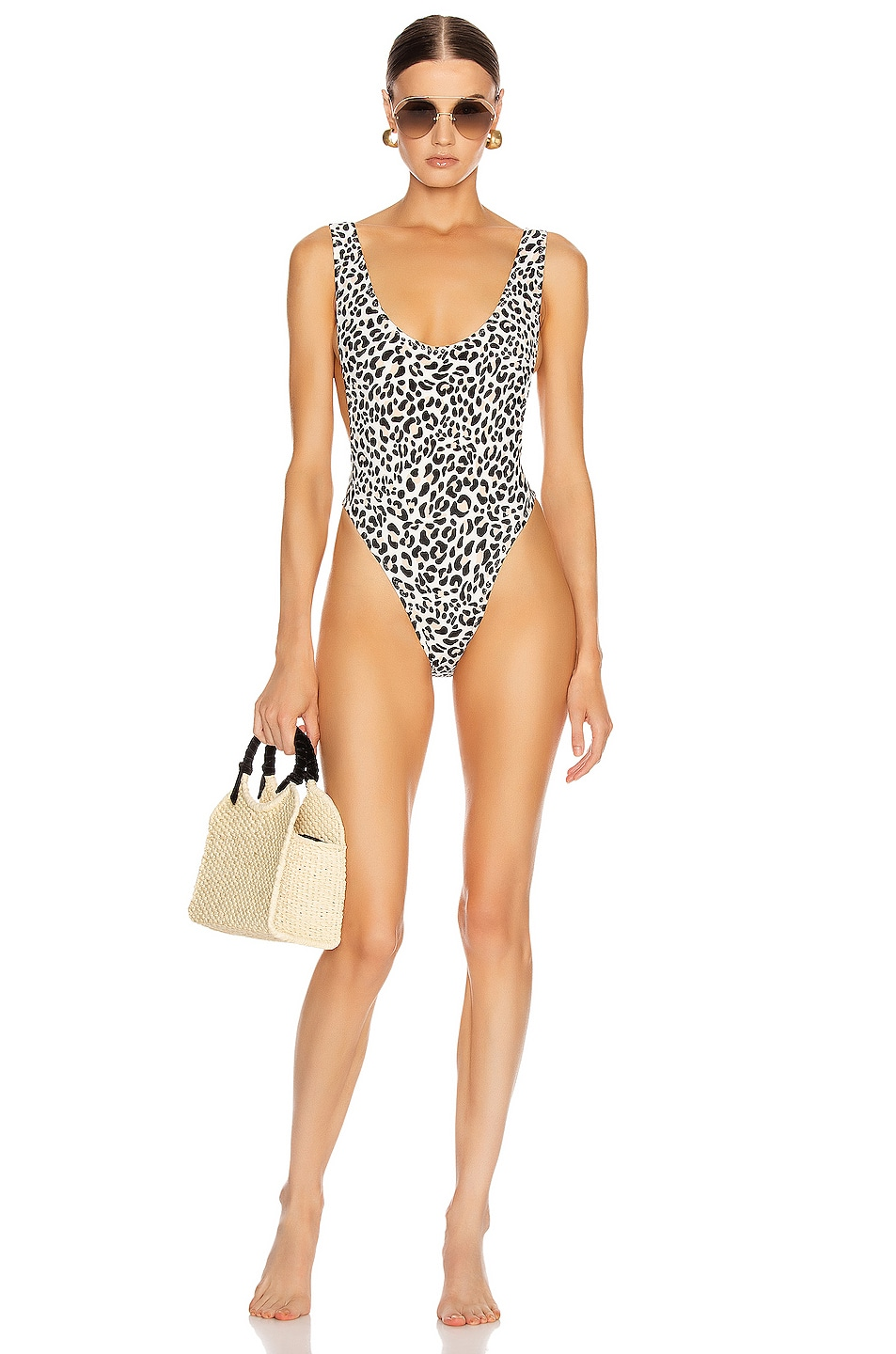 Image 1 of Norma Kamali Marissa One Piece in Baby Leopard