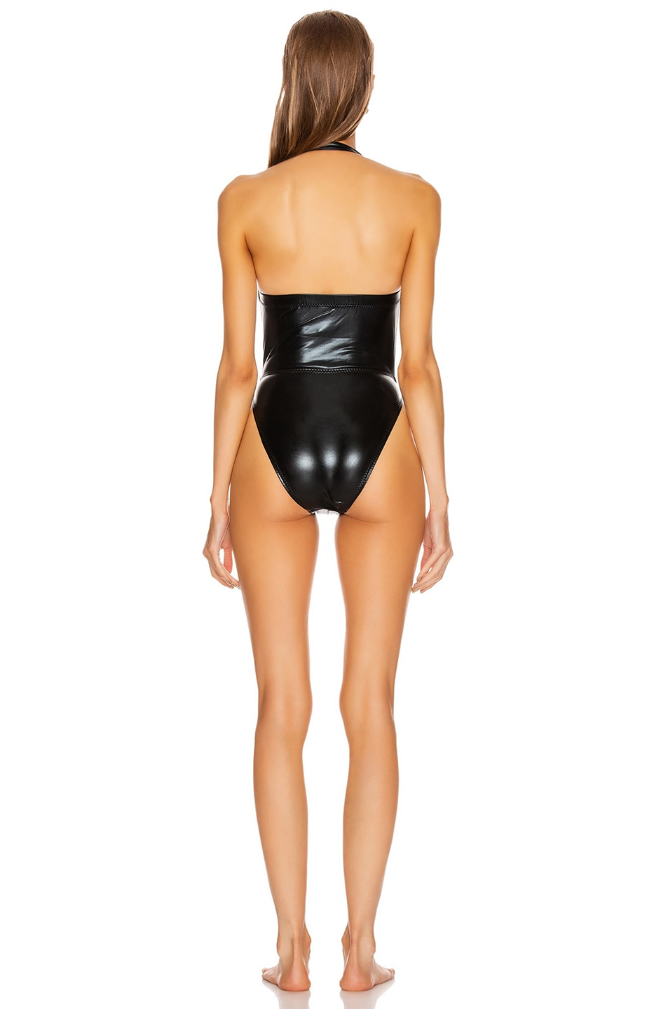 Image 3 of Norma Kamali High Leg Cross Over Mio Swimsuit in Black Foil