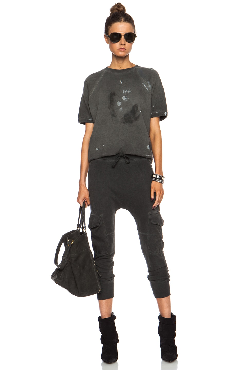 Image 5 of NSF Smith Cotton Sweatpant in Oil Wash Black