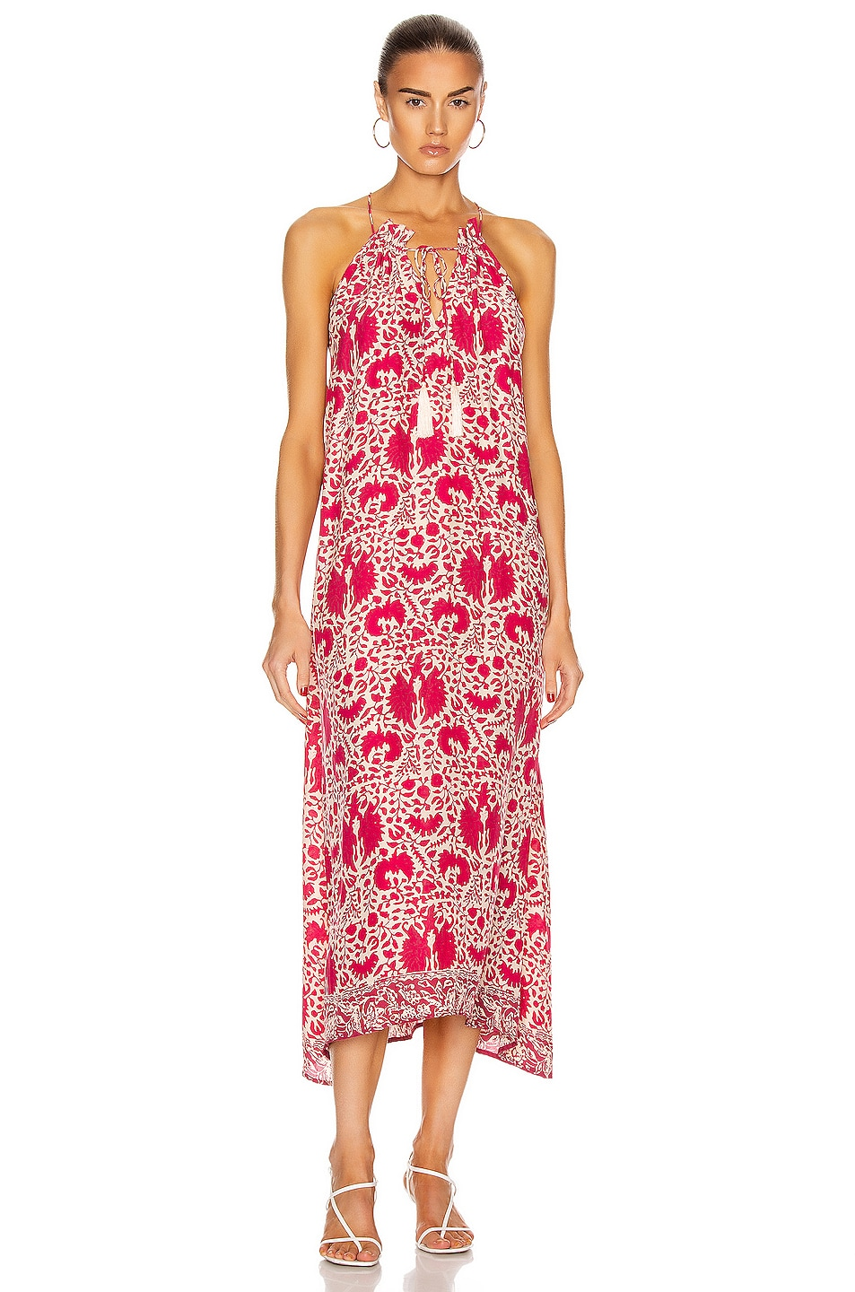 Image 1 of Natalie Martin Marlien Maxi Dress in Wing Print Bougainvillea Pink