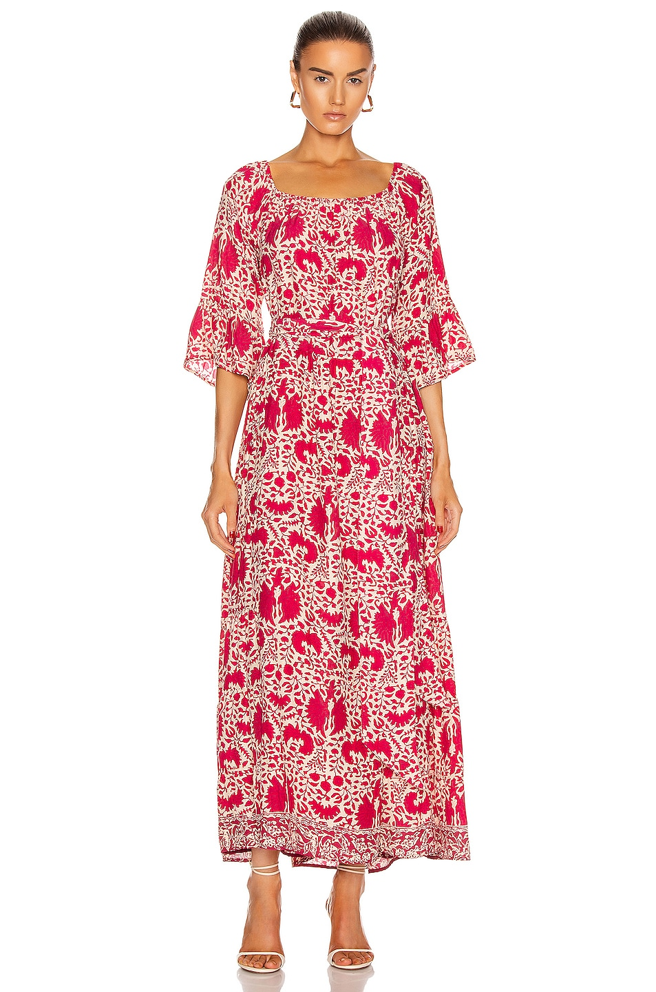 Image 1 of Natalie Martin Mesa Maxi Dress in Wing Print Bougainvillea Pink