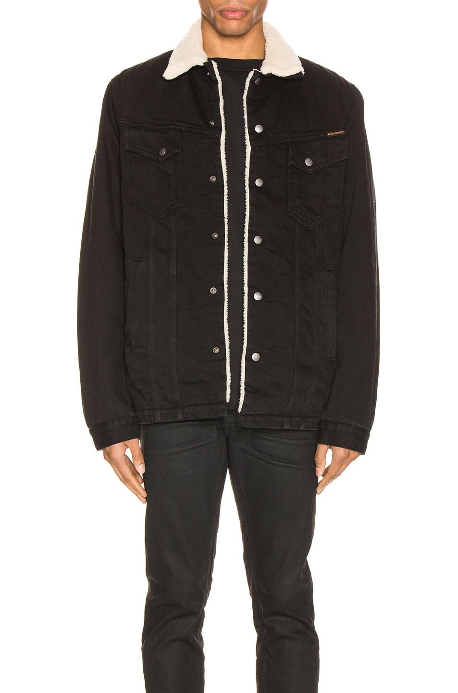 Image 1 of Nudie Jeans Lenny Jacket in Black Worn