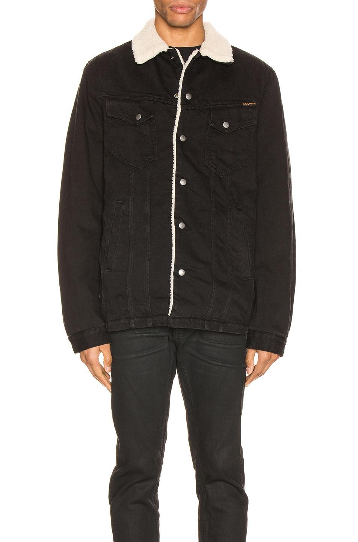Image 2 of Nudie Jeans Lenny Jacket in Black Worn