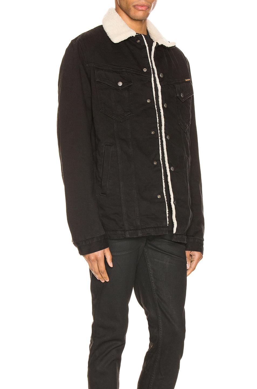 Image 3 of Nudie Jeans Lenny Jacket in Black Worn