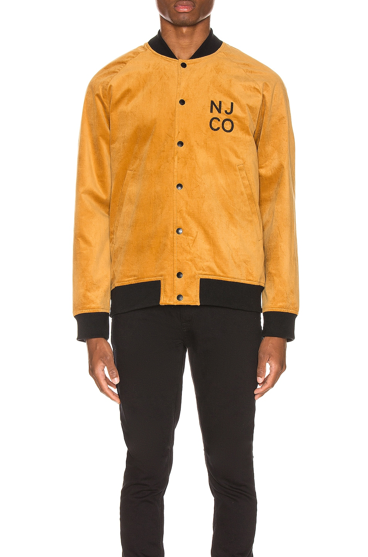 Image 2 of Nudie Jeans Mark Velvet Bomber Jacket in Dandelion