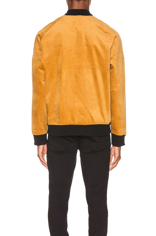 Image 4 of Nudie Jeans Mark Velvet Bomber Jacket in Dandelion