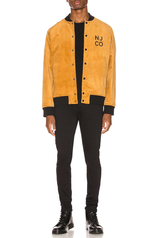 Image 5 of Nudie Jeans Mark Velvet Bomber Jacket in Dandelion