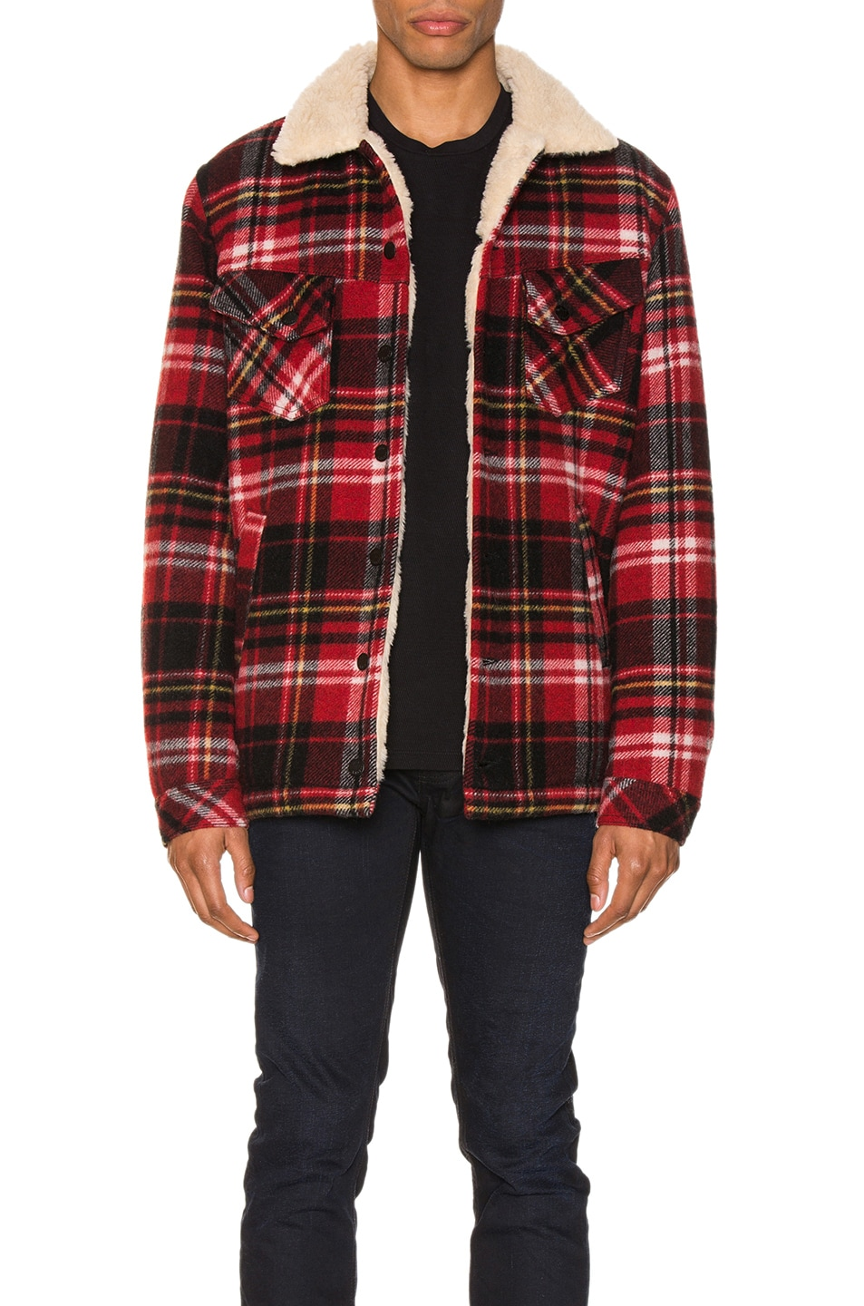 Image 1 of Nudie Jeans Lenny Plaid Jacket in Red Alert