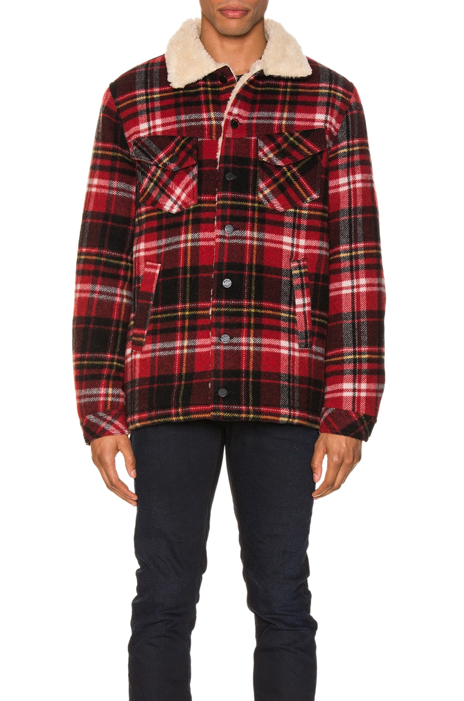 Image 2 of Nudie Jeans Lenny Plaid Jacket in Red Alert