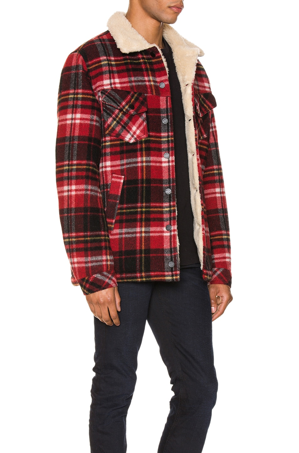 Image 3 of Nudie Jeans Lenny Plaid Jacket in Red Alert