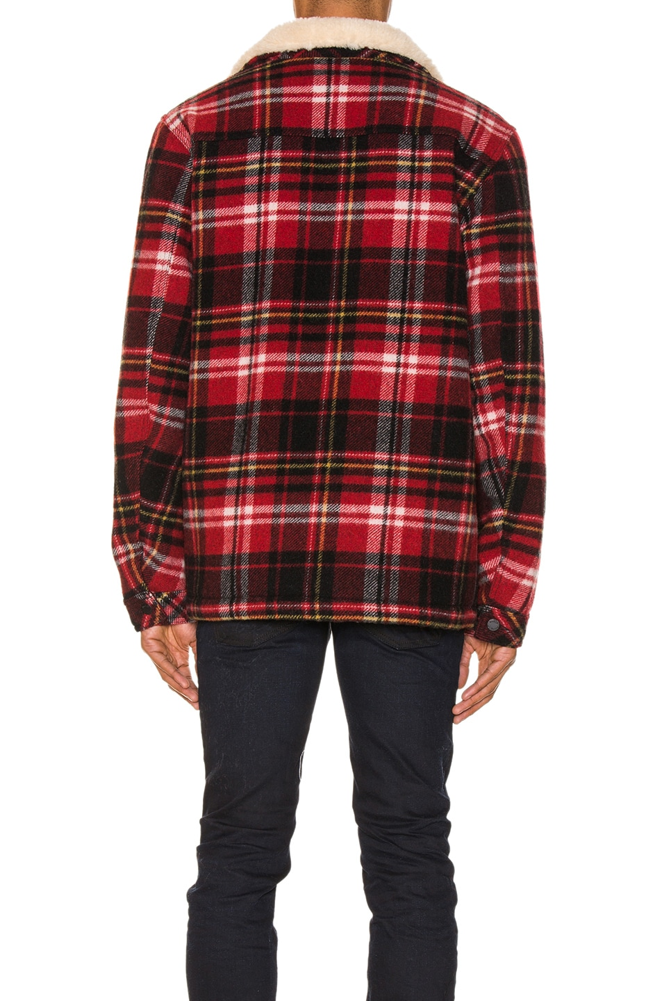 Image 4 of Nudie Jeans Lenny Plaid Jacket in Red Alert