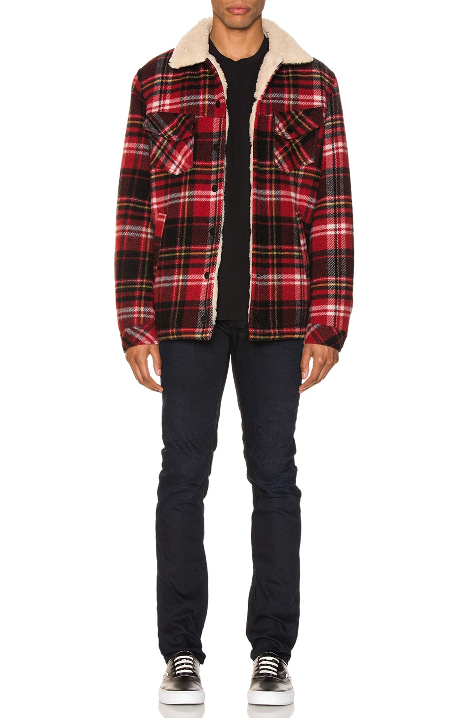 Image 5 of Nudie Jeans Lenny Plaid Jacket in Red Alert