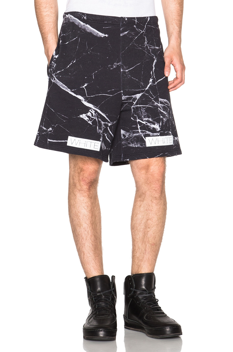 d8f8197e Image 1 of OFF-WHITE Marble Print Fleece Shorts in Black