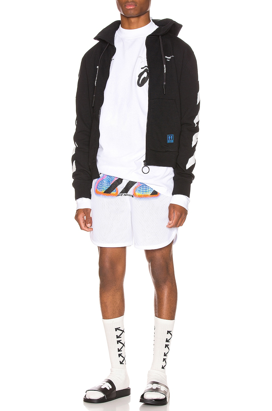 Image 4 of OFF-WHITE Thermo Mesh Shorts in White Multi