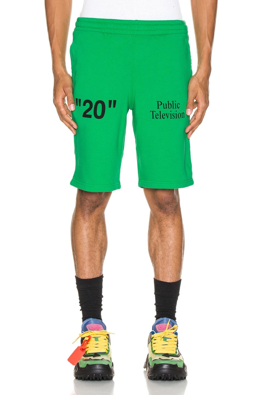Image 1 of OFF-WHITE Mirko Artist Sweatshorts in Green & Black