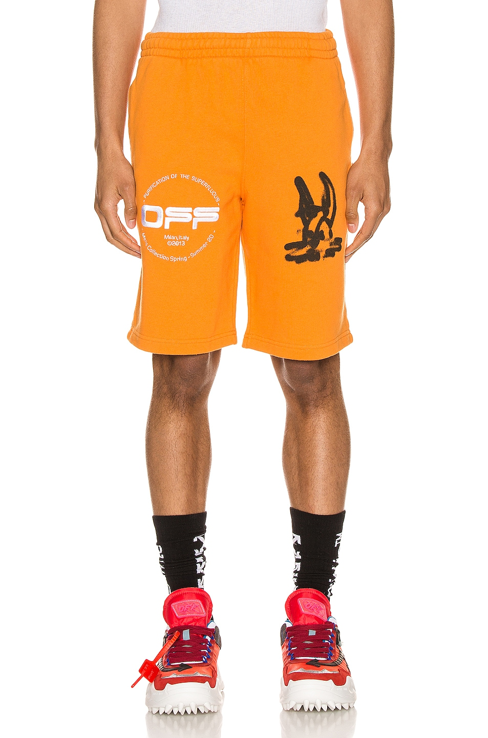 Image 1 of OFF-WHITE Cartoon Sweatshorts in Orange & Black