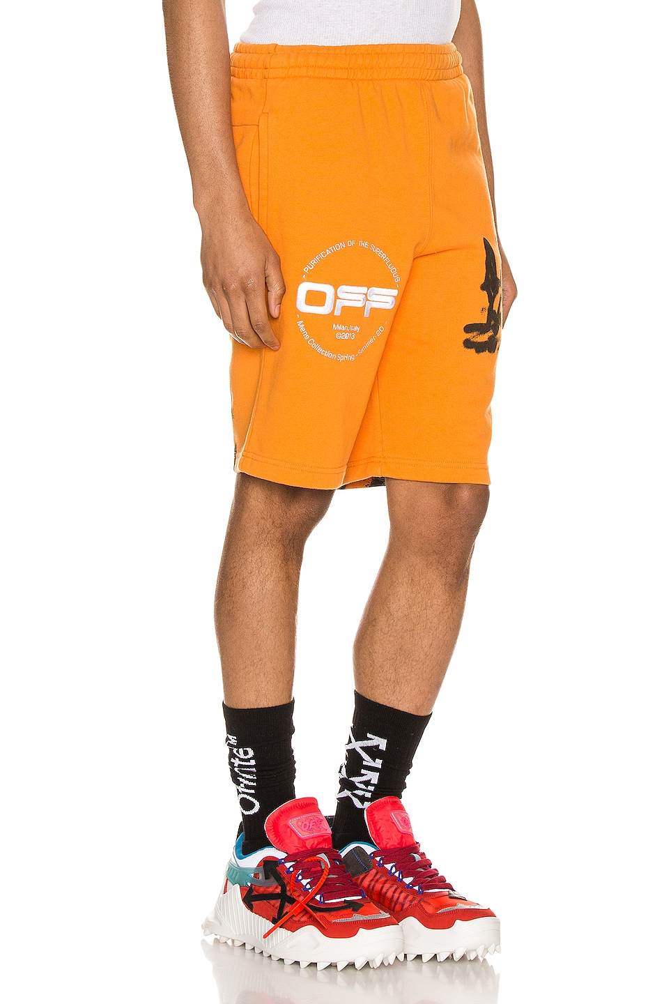 Image 2 of OFF-WHITE Cartoon Sweatshorts in Orange & Black