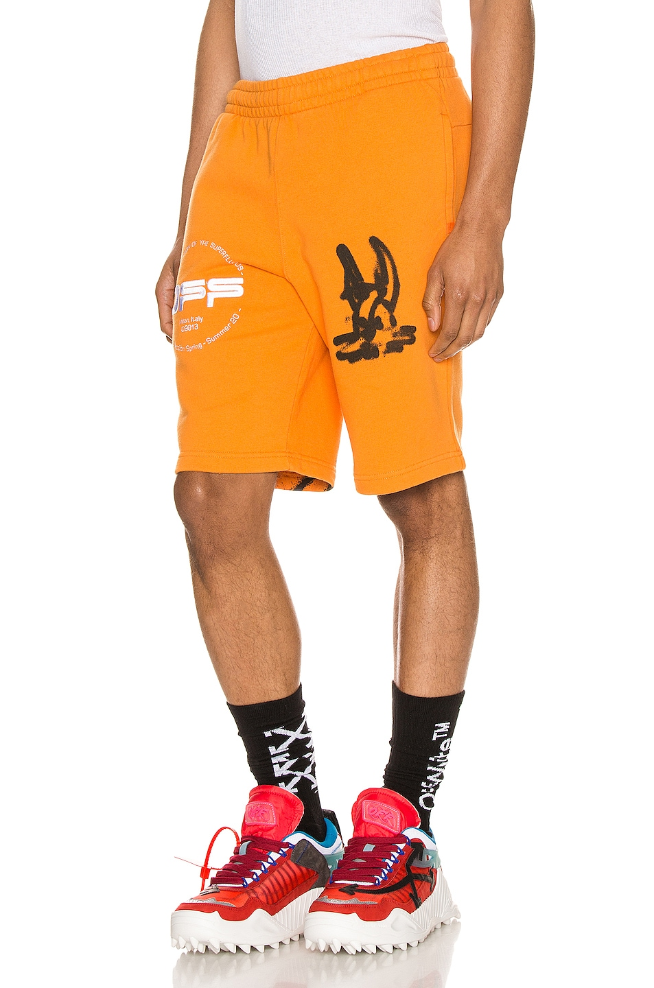 Image 3 of OFF-WHITE Cartoon Sweatshorts in Orange & Black