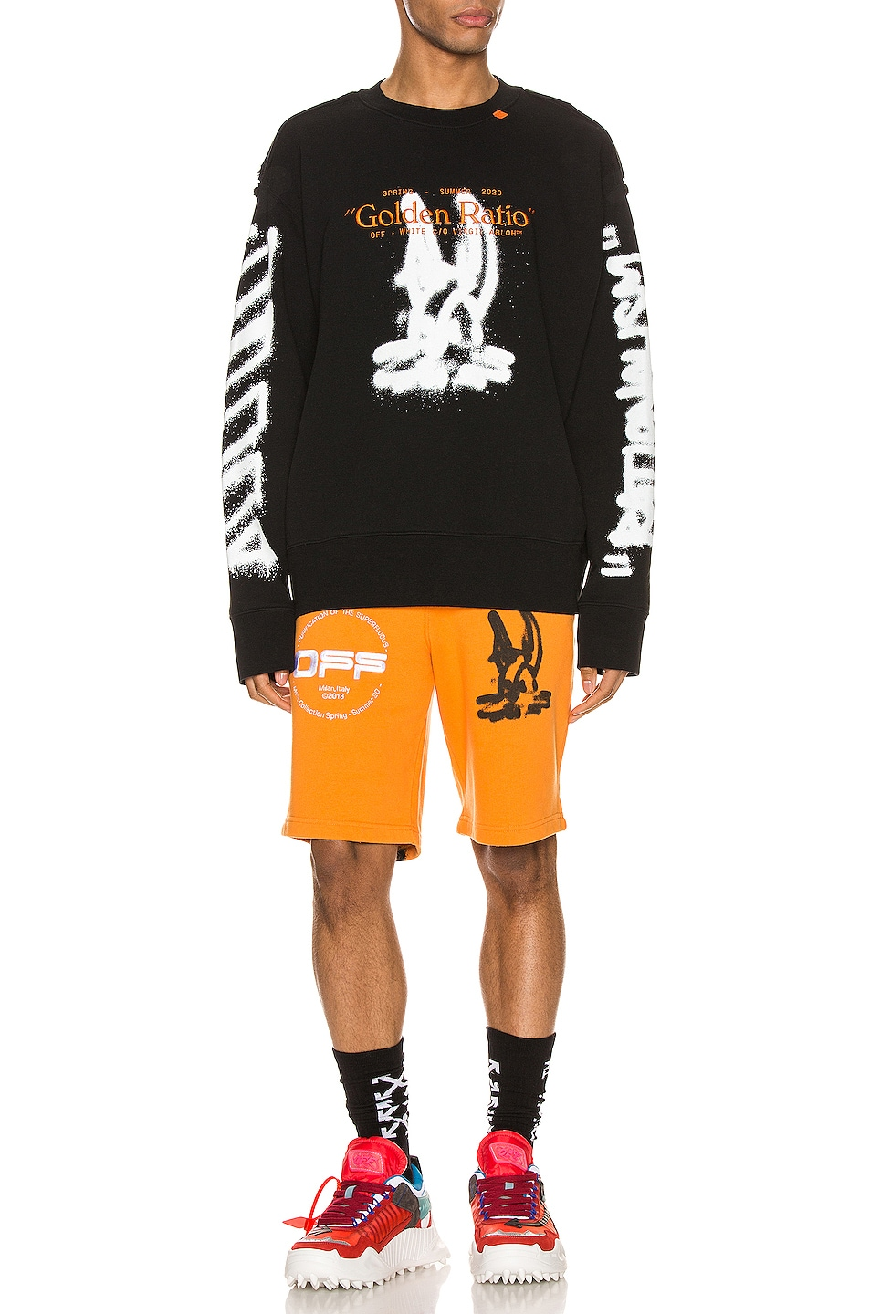 Image 5 of OFF-WHITE Cartoon Sweatshorts in Orange & Black
