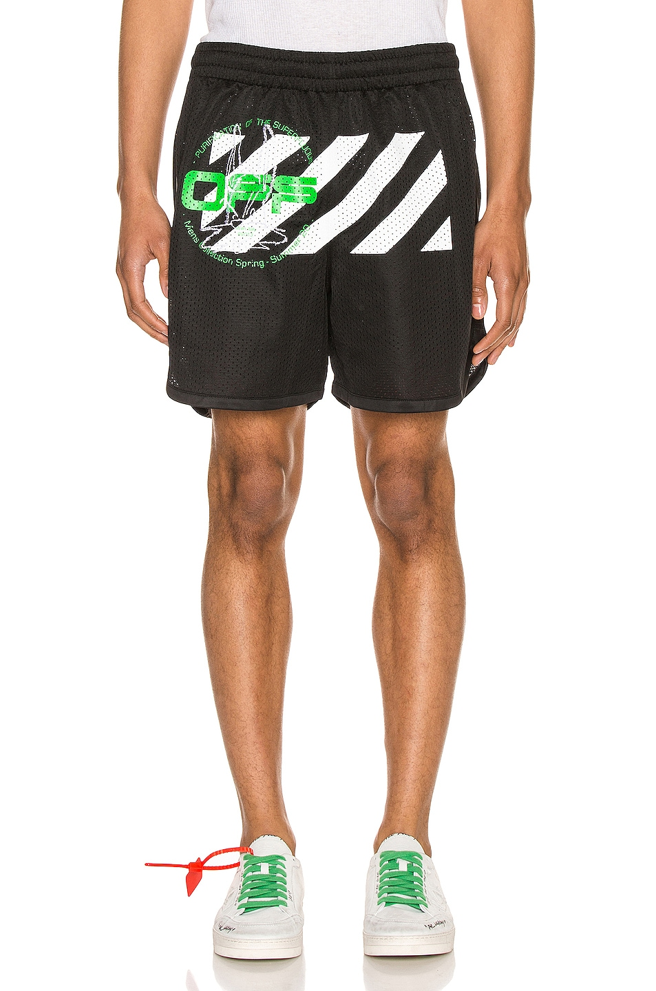 Image 1 of OFF-WHITE Harry The Bunny Mesh Shorts in Black & Brillian